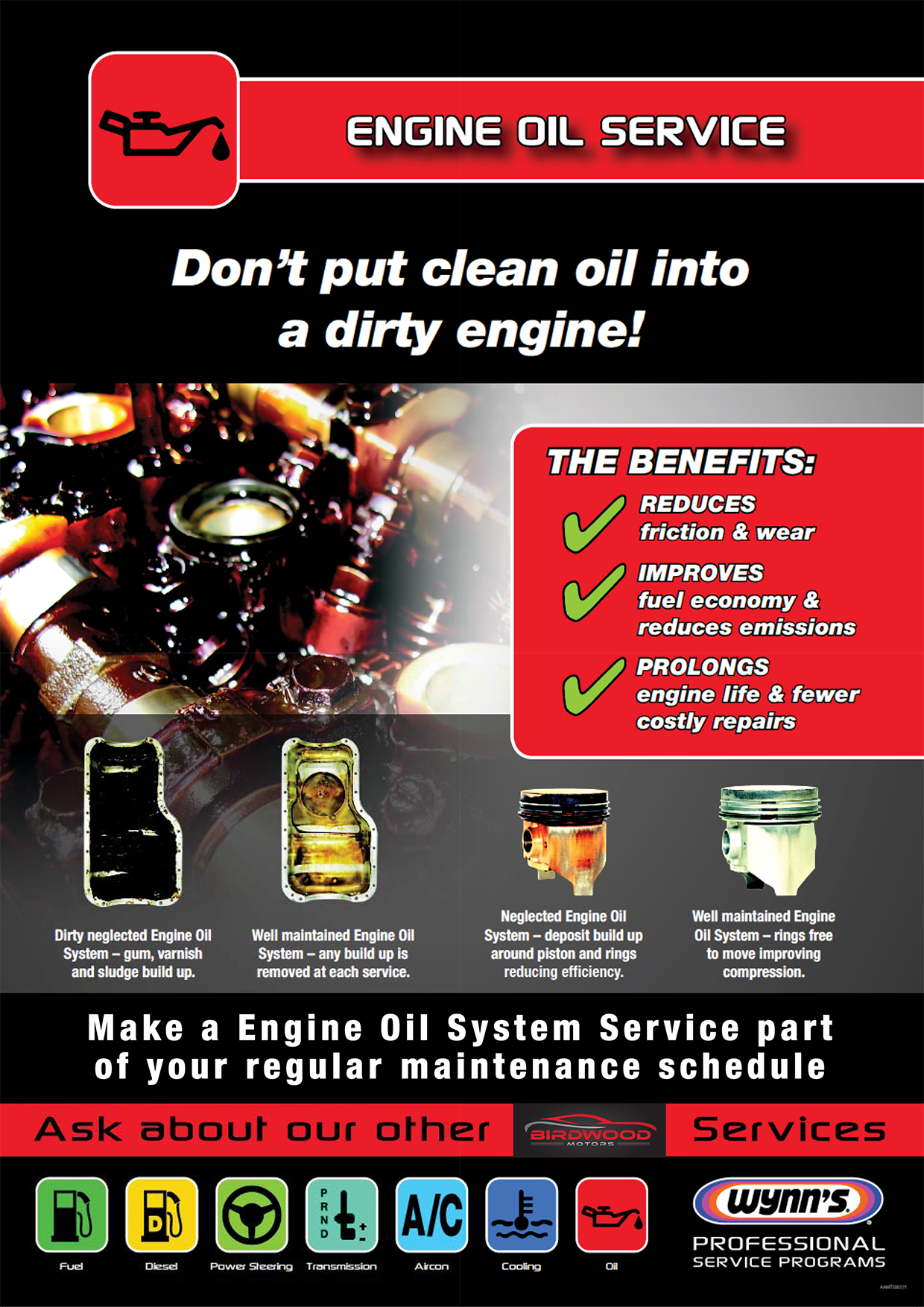 Engine Oil Service Poster (Birdwood)