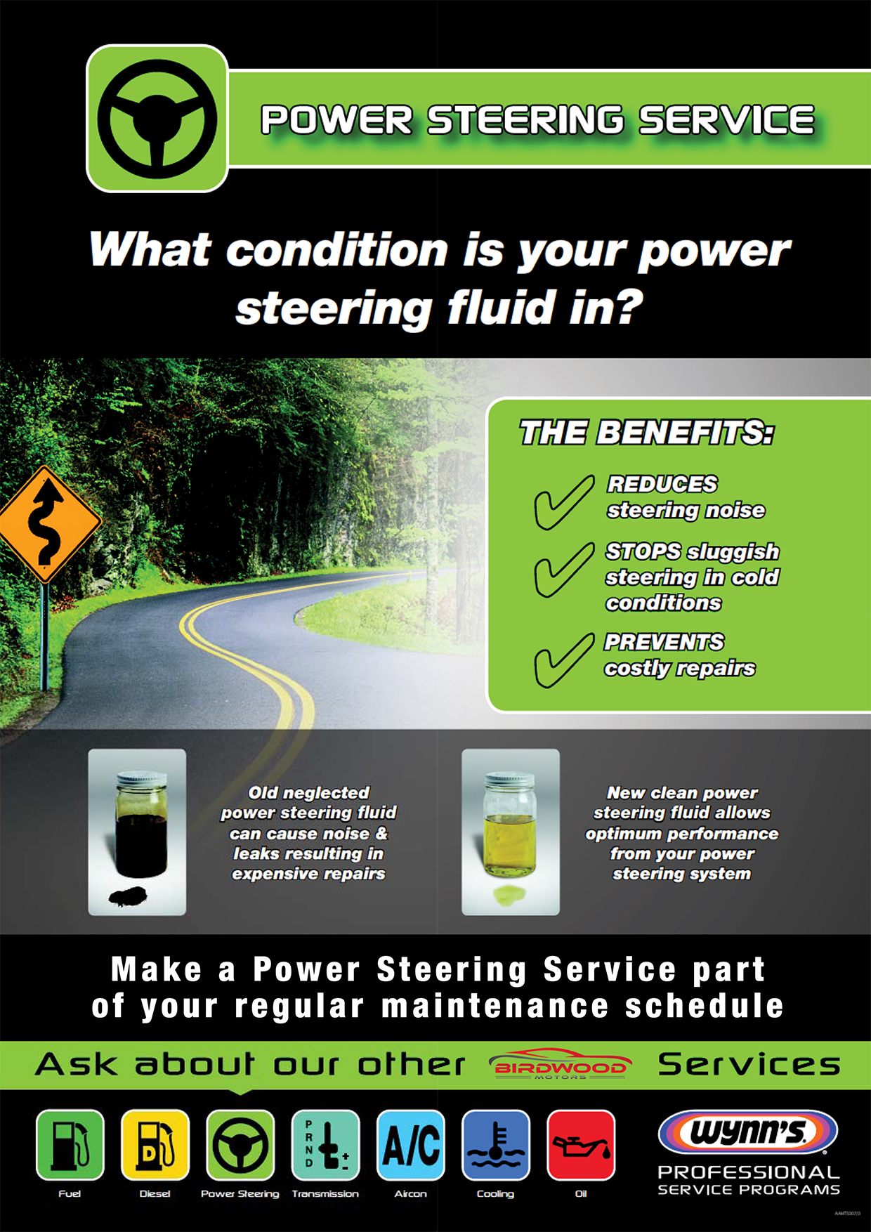 Power Steering Service Poster (Birdwood)
